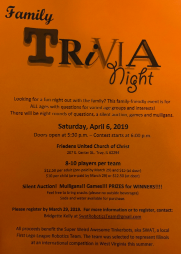 Trivia Night fundraiser for local robotics team