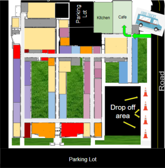 Map for PTO Food Truck Fundraiser at 5:30 next 8/27 and 8/28