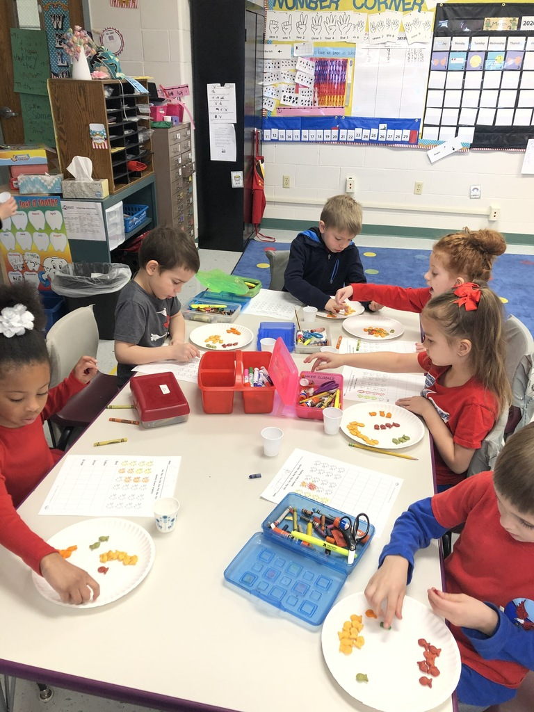 Mrs. LaGrow's Scott Elementary Kindergarten class enjoyed learning about graphing using goldfish crackers.. #19EveryStudent