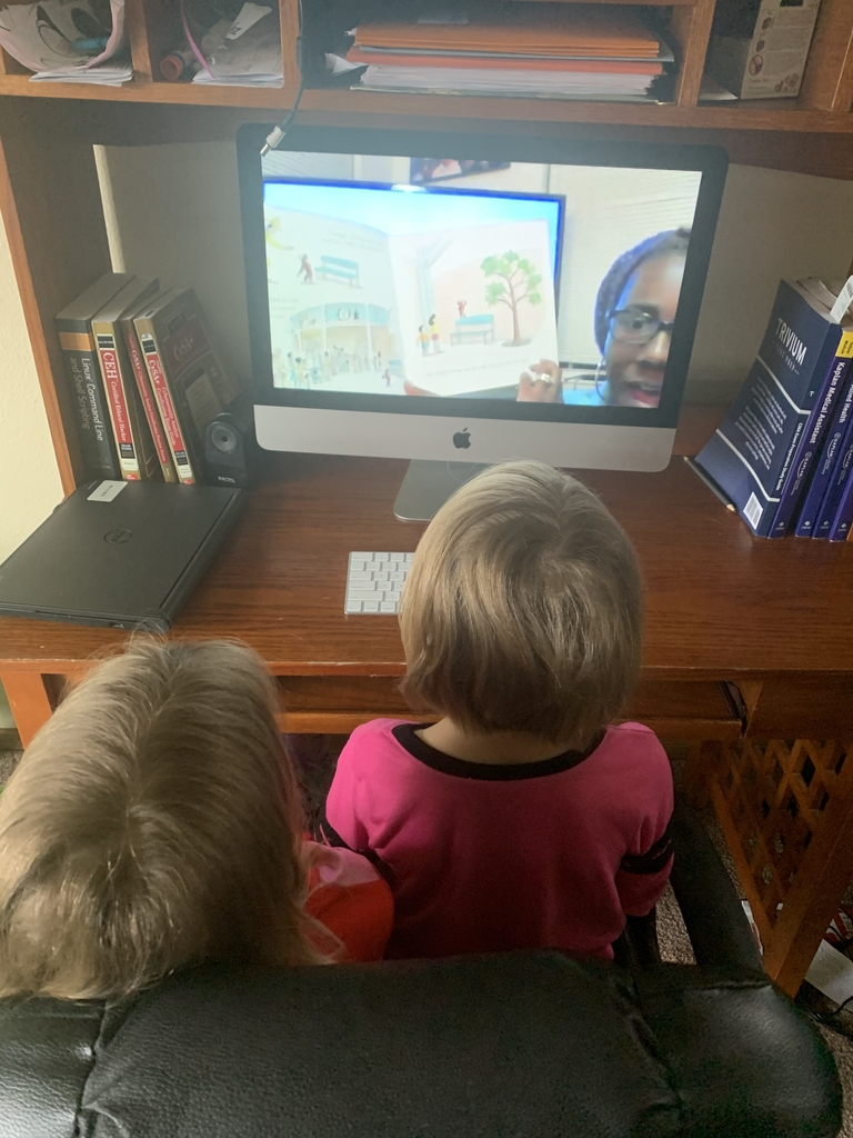 Scott Elementary Kinders are taking home school learning seriously.  Mrs. Johnson's class has been sharing their family art work time, and even a picture of them watching her read a book on a video! #19EveryStudent.